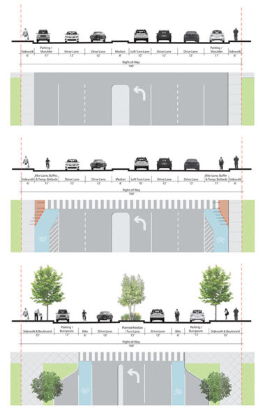 Streetscape sections/plans: existing and two alternatives